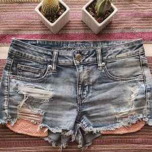 American Eagle Shortie Pink Pocket Shorts